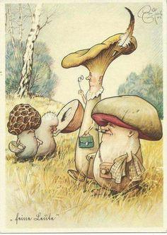 art Mushroom GNOME Fairy Fantasy postcard a Art And Illustration, Vintage Illustrations, Mushroom Art, Poses References, Photo D Art, Fairy Art, Magical Creatures, Woodland Creatures, Whimsical Art