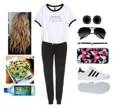 """""""Lunch Break"""" by teodoramaria98 ❤ liked on Polyvore featuring Topshop, H&M, adidas, Ray-Ban and Stella & Dot"""