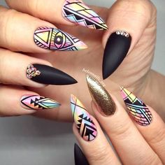 Stilettos nails are somehow resembling almond nail shape. A fair share of marvelous stiletto nails designs to get inspired with and to make your life brighter than ever! Fancy Nails, Trendy Nails, Cute Nails, Stiletto Nail Art, Acrylic Nails, Gel Nail, Marble Nails, 3d Nails, Coffin Nails