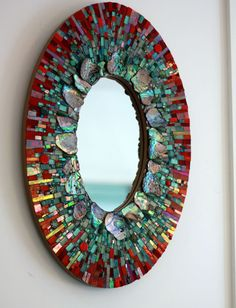 Custom mosaics mirror by Ariel Shoemaker. Love the color choice. Very beautiful!!!