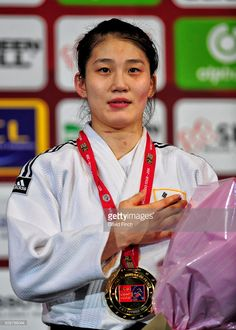 Under 57kg gold medallist, Jan-Di Kim of South Korea during the 2016 Paris Grand Slam on February 6, 2016 at the AccorHotels Arena, Bercy, Paris, France.