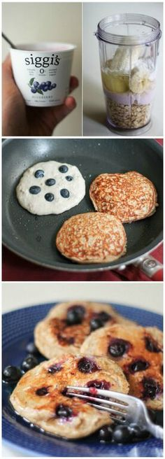 Healthy Pancakes made in the blender with oatmeal, yogurt, banana and an egg. Easy to make, filling and high in protein. #Pancakes #Blueberry #Oatmeal #GF #Healthy #Quick