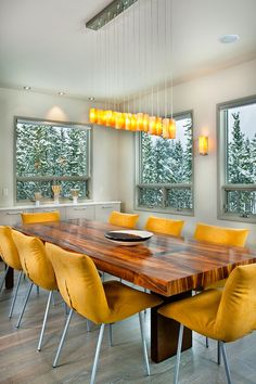 Live in a cold climate? Warm up your dining room with the color of heat — a bold orange-yellow. No matter how frightful the weather gets outside, you and your guests will remain warm and cozy.