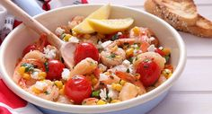 An Autumn delight! Recipe courtesy of New Idea Magazine. Seafood Dishes, Seafood Recipes, Dinner Recipes, Cooking Recipes, Just Cooking, Spring Recipes, Prawn, Summer Salads, The Dish