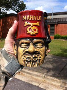 Shrunken Shriner Leather brown glaze Shrunken Head Tiki Mug www.Mahalotiki.com