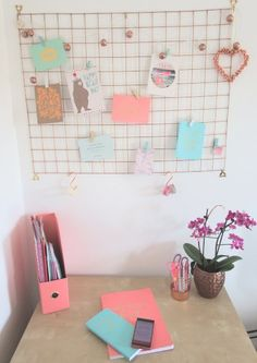 Copper memoboard DIY & copper mint and pink home office makeover!