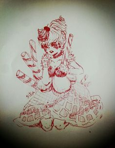 디저트를 소재로 그린 소녀