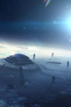 Sci fi planets sci fi alien landscapes civilization for Space matte painting