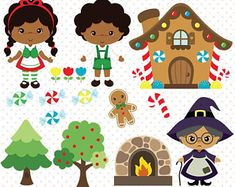 Hansel and Gretel clipart, Fairy tale vector, Black kids vector - Commercial use -