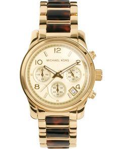 Michael Kors Tortoiseshell and Gold Chronograph Watch