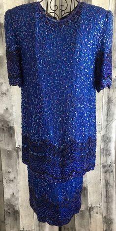 Vintage Silky Nights by Cherish Silk Sequin Beaded Dress Blue Bling Small 6/8 #SilkyNightsbyCherish #StraightandFitted
