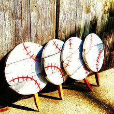 We love these Rustic personalized baseballs. We have two kids in Tball right now so we had to make signs to show our support. You can Personalize