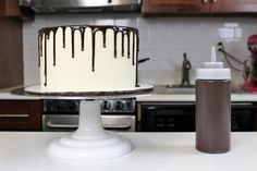 Easy, two-ingredient chocolate ganache recipe! Perfect for a chocolate drip cake!!