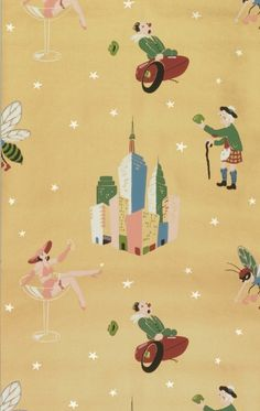 """COCKTAIL WALLPAPERS // followed the end of Prohibition in 1933. This design is typical of the genre, with its whimsical personifications of cocktails. The drinks shown in this design include a Pink Lady, Sidecar, a Manhattan, Scotch & Lime, and a Stinger. They are printed in bright colors on a metallic copper background. Quite often, these motifs were mixed with elements of gaming, such as cards or dice. // via cooper hewitt """"object of the day"""" series"""