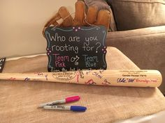 Guests autograph bat in the color of their guess: pink/blue Baseball Gender Reveal, Twin Gender Reveal, Gender Reveal Themes, Gender Reveal Party Decorations, Gender Party, Baby Gender Reveal Party, Baby On The Way, Reveal Parties, Future Baby