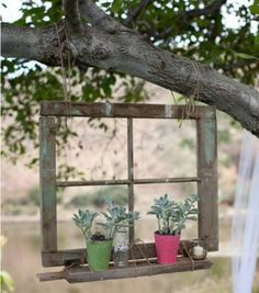 Rustic garden art easel with hostas. See the entire gallery for more ideas like this. Diy Garden, Garden Trees, Garden Projects, Garden Art, Upcycled Garden, Garden Crafts, Patio Design, Garden Design, Patio Layout