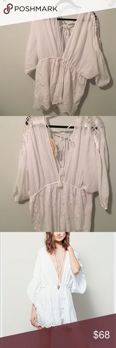 Free People - Dream State Romper Fun and flowy romper with amazing detail! Could be used as a beach coverup or a fun summer outfit. Free People Dresses Mini