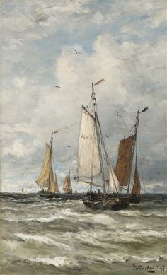 Fishing vessels at sea by Hendrik Willem Mesdag