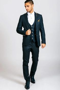 Click here to discover our collection of Men's 3 Piece Suits. Browse our vintage inspired designs in a variety of prints, colours & materials. Shop today! Mens 3 Piece Suits, Three Piece Suit, Mens Suits, Mens Tweed Suit, Tweed Suits, Classic Blue Suit, Classic Blues, Costume Sexy, Modern Suits