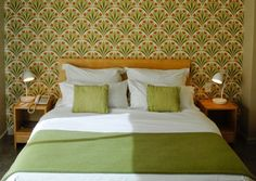 Not the wallpaper, but I love the color green and the simple style of decor.