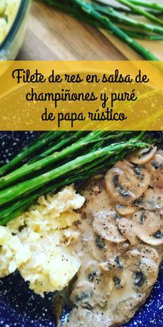 Filete de res en una deliciosa y sencilla salsa de champiñones, acompañado con puré rústico de papitas cambray y espárragos a la plancha.