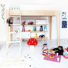 Our Perch Bunk and Mini Library in this over the rainbow look from @bobbyrabbitkids.