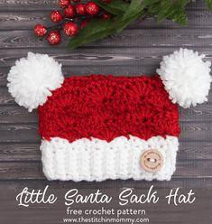 Little Santa Sack Hat - Free Crochet Pattern in 8 Sizes | www.thestitchinmommy.com #CrochetBaby