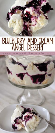 This heavenly blueberry and cream angel dessert is a mess of heaven on a plate. This heavenly blueberry angel food cake dessert is light and delicious! So simple to prepare, it is the perfect ending to any meal (I always get asked for the recipe! Summer Desserts, Easy Desserts, Delicious Desserts, Yummy Food, Layered Desserts, Cold Desserts, Light Desserts, Angel Food Cake Desserts, Brownie Desserts