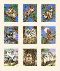 Owl Families Panel, Cream, Elizabeth's Studios by Trazy Lizotte, (9 pictures)