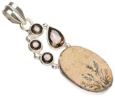 StarGems(tm) Natural Rose Quartz and River Pearl Handmade Unique 925 Sterling Silver Pendant 2