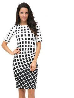 Geometric Dress Tunic Women's Clothing Plus Size Spring OL Dresses For Work Fashion Black White Dress