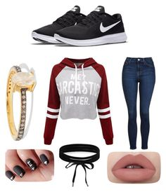 """Sarcasm"" by loren-aah-whitehead on Polyvore featuring Chan Luu, WithChic, Topshop, NIKE and Boohoo"