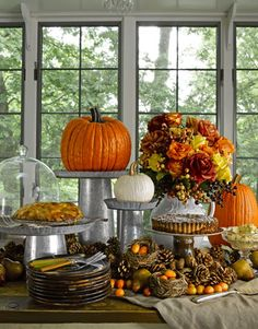 Ideas for the tea of thanksgiving! Under The Table and Dreaming: 30 Pumpkin, Gourd & Fruit Centerpieces for Festive Fall Tablescapes {Saturday Inspiration & Ideas} Thanksgiving Decorations, Seasonal Decor, Thanksgiving Holiday, Family Holiday, Thanksgiving Tablescapes, Pumpkin Decorations, Thanksgiving Table Settings, Holiday Tables, Fall Harvest Decorations