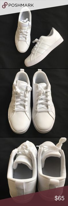 Adidas sneakers.                     NWOT White leather adidas sneaker with white stripe. Runs big so my suggestion is to go down a size. New without box New! Authentic 🚫trades FIRM PRICE adidas Shoes Sneakers