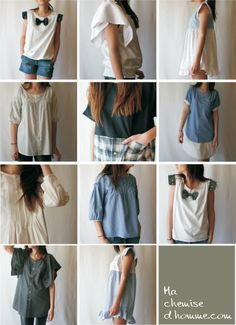 with a man shirt Shirt Refashion, Diy Shirt, Upcycle Shirts, Diy Fashion No Sew, Fashion Sewing, Recycle Old Clothes, Diy Clothes Accessories, Sewing Clothes Women, Creation Couture