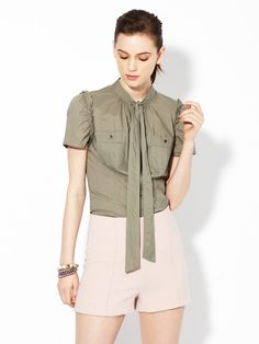 Savannah Tie Neck Shirting Blouse by Marc by Marc Jacobs on Gilt
