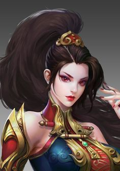 Female Avatar by Eve Wo Beijing Fantasy Girl, Fantasy Art Women, Beautiful Fantasy Art, Fantasy Images, Fantasy Warrior, Fantasy Character Design, Character Inspiration, Character Art, Anime Art Girl