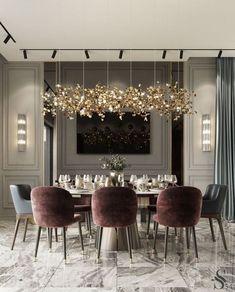Luxury Dining Room, Dining Room Design, Dining Rooms, Design Kitchen, Luxury Home Decor, Luxury Interior, Estilo Hollywood Regency, Home Design, Design Ideas