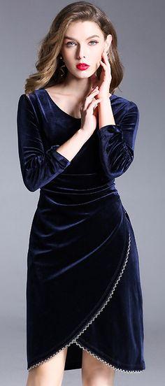 Sexy V-Neck Velvet Long Sleeve Bodycon Dress