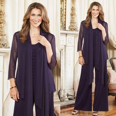 2015 Plus Size Mother Of The Bride Pant Suits With Jacket Purple Outfits Custom Made Chiffon Long Sleeve Mother Of The Groom