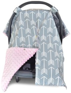 Arrow Car Seat Canopy with Baby Pink Dot Minky and Peekaboo Opening™  sc 1 st  Pinterest & Baby Boy Car Seat Canopy White Arrows by KadydidDesigns on Etsy ...