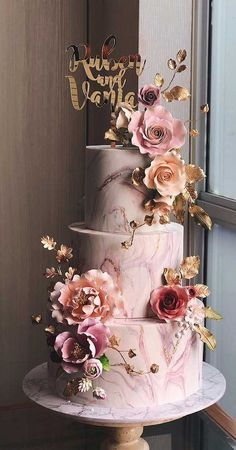 pretty wedding cake designs, painted wedding cake, unique we Elegant Birthday Cakes, Pretty Wedding Cakes, Square Wedding Cakes, Wedding Cakes With Cupcakes, Wedding Cake Decorations, Elegant Wedding Cakes, Wedding Cake Designs, Unique Weddings, Blush Weddings