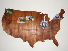 This is my husband and my map of the US. We put it together with a few 2 by 4's and some plywood. We then used a woodburner to outline the states. We are going to use this map to track where we have been in the US. Each state we have been to we place a picture in. It's a great home decoration also!!