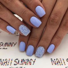 Cute light blue acrylic nails short with an accent glitter nailYou can find Nails acrylic short and more on our website.Cute light blue acrylic nails short with. Purple Acrylic Nails, Violet Nails, Summer Acrylic Nails, Blue Gel Nails, Spring Nails, Summer Nails, Dark Nails, Gel Nails With Glitter, Periwinkle Nails