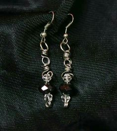 Awesome spiral b/w crystal wire wrapped earrings