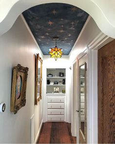 Lime Wash and Liquid Gold make for a stellar statement ceiling.   Lime Wash in color 'Whale Watching'  Liquid Gold in color 'Rose Gold'  Application and photo by @breezin_along Star Bedroom, Star Ceiling, Paint Companies, Modern Victorian, Wall Colors, Colours, Humble Abode, Wall Wallpaper, Lime