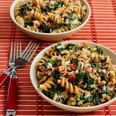 Vegetarian Whole Wheat Pasta with Fried Kale, Tomato Sauce, and Goat Cheese; this is a delicious meatless pasta with lots of nutritious ingredients!  [from KalynsKitchen.com] #MeatlessMonday #Kale #Pasta