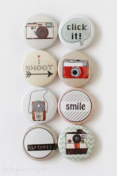 These 1-inch flair buttons are perfect for all types of paper crafting projects such as Project Life, A Week In Life, card making & scrapbooking.