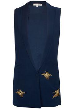 Navy embroidered bird motifs waistcoat by Kukoon. Shop now: http://www.perniaspopupshop.com/designers/kukoon #shopnow #kukoon #perniaspopupshop #jacket