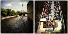 STROMABWÄRTS - Der Touristenstrom in Berlins Mitte reißt eigentlich nie ab. Da wirkt eine Bootsfahrt wie eine kleine Pause im Großstadtgewühl. Aufgenommen mit der App Hipstamatic auf einem iPhone 4S.